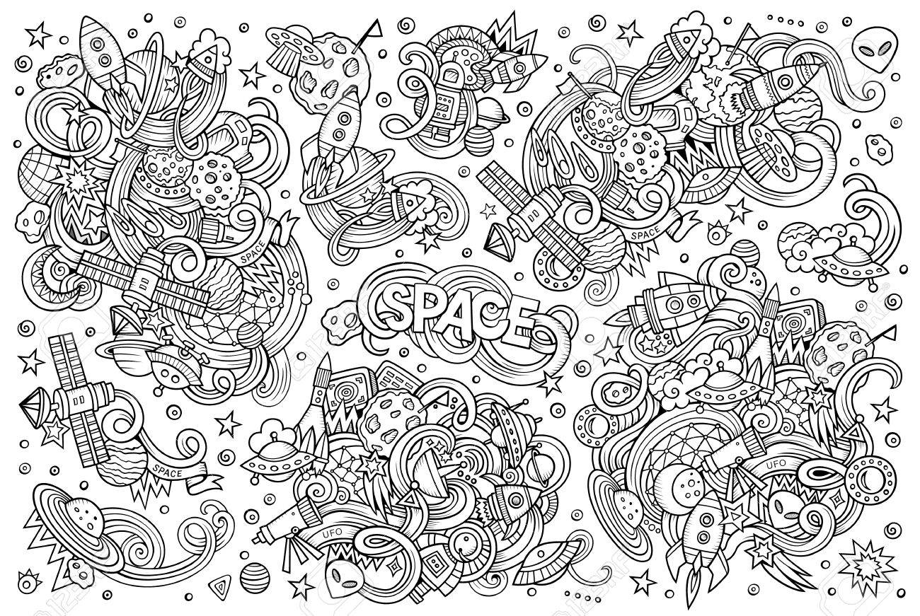 Sketchy vector hand drawn doodles cartoon set of Space objects and symbols - 50368530