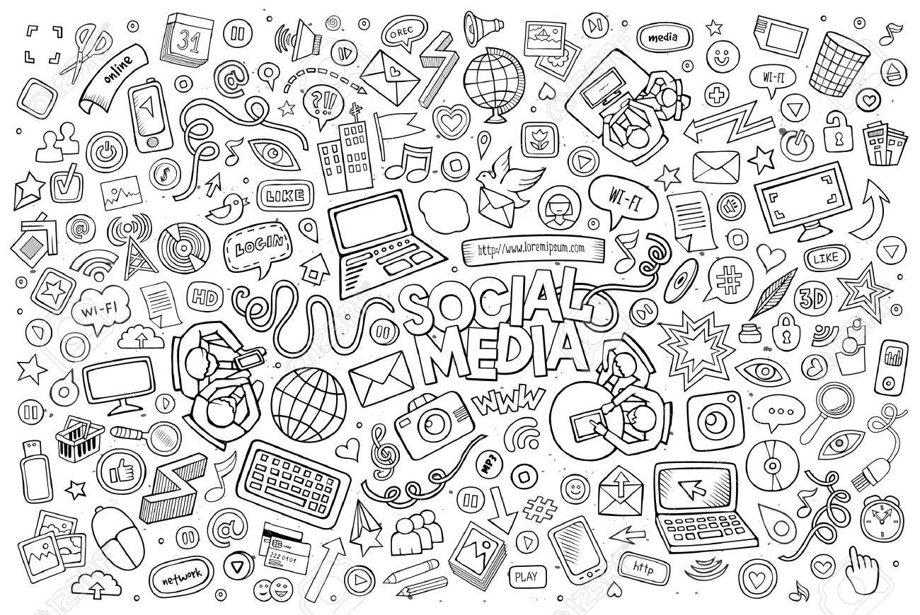 Vector line art Doodle cartoon set of objects and symbols on the Social Media theme - 50368566