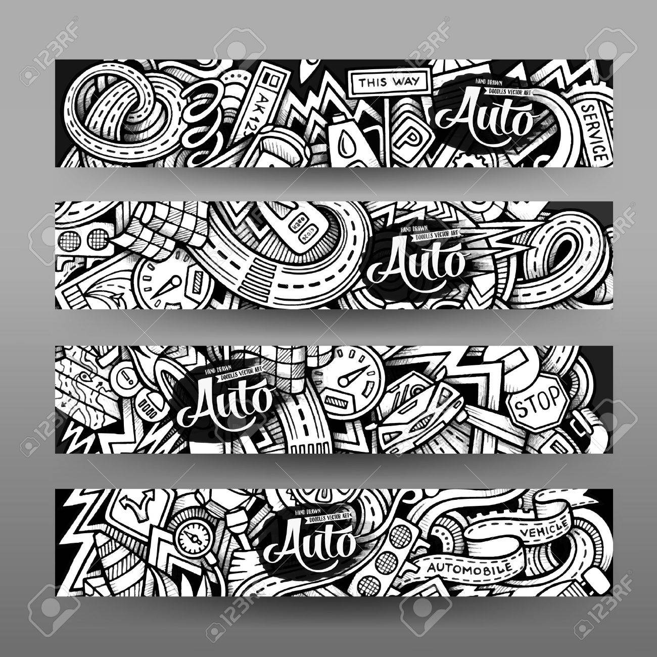 Graphics vector hand drawn sketchy trace automotive doodle graphics vector hand drawn sketchy trace automotive doodle horizontal banner design templates set stock vector pronofoot35fo Choice Image