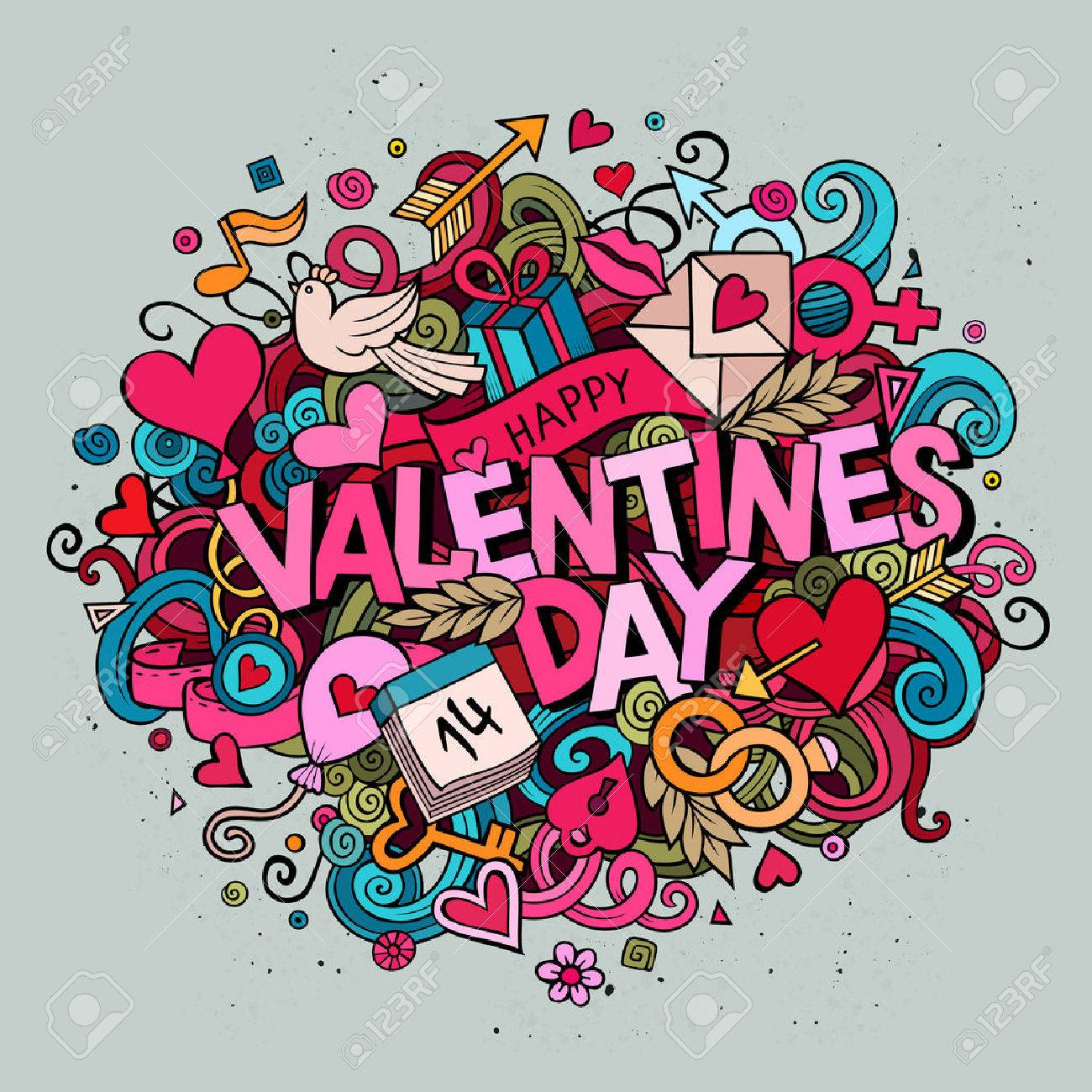 Cartoon Vector Hand Drawn Doodle Happy Valentines Day Illustration