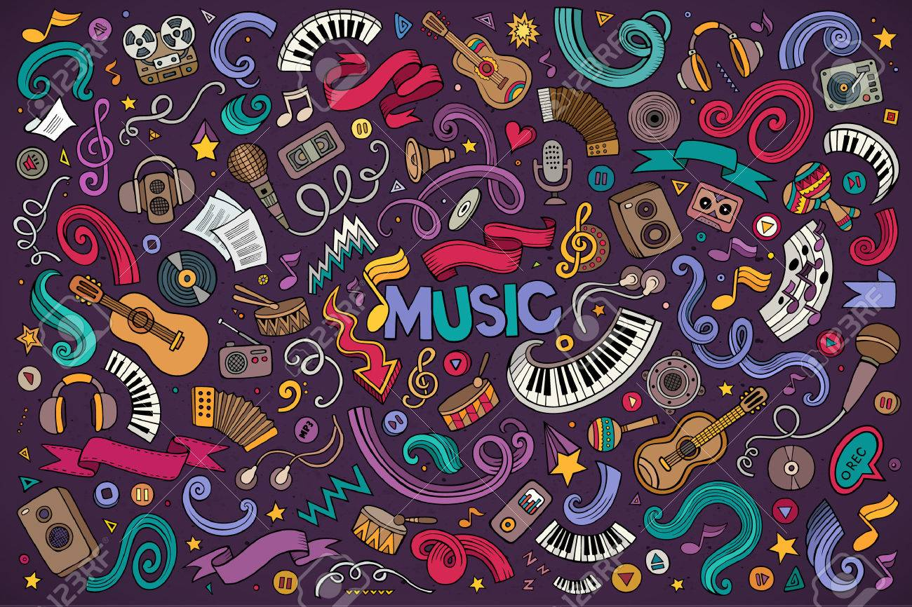 Colorful vector hand drawn doodles cartoon set of Music objects and symbols - 50880407