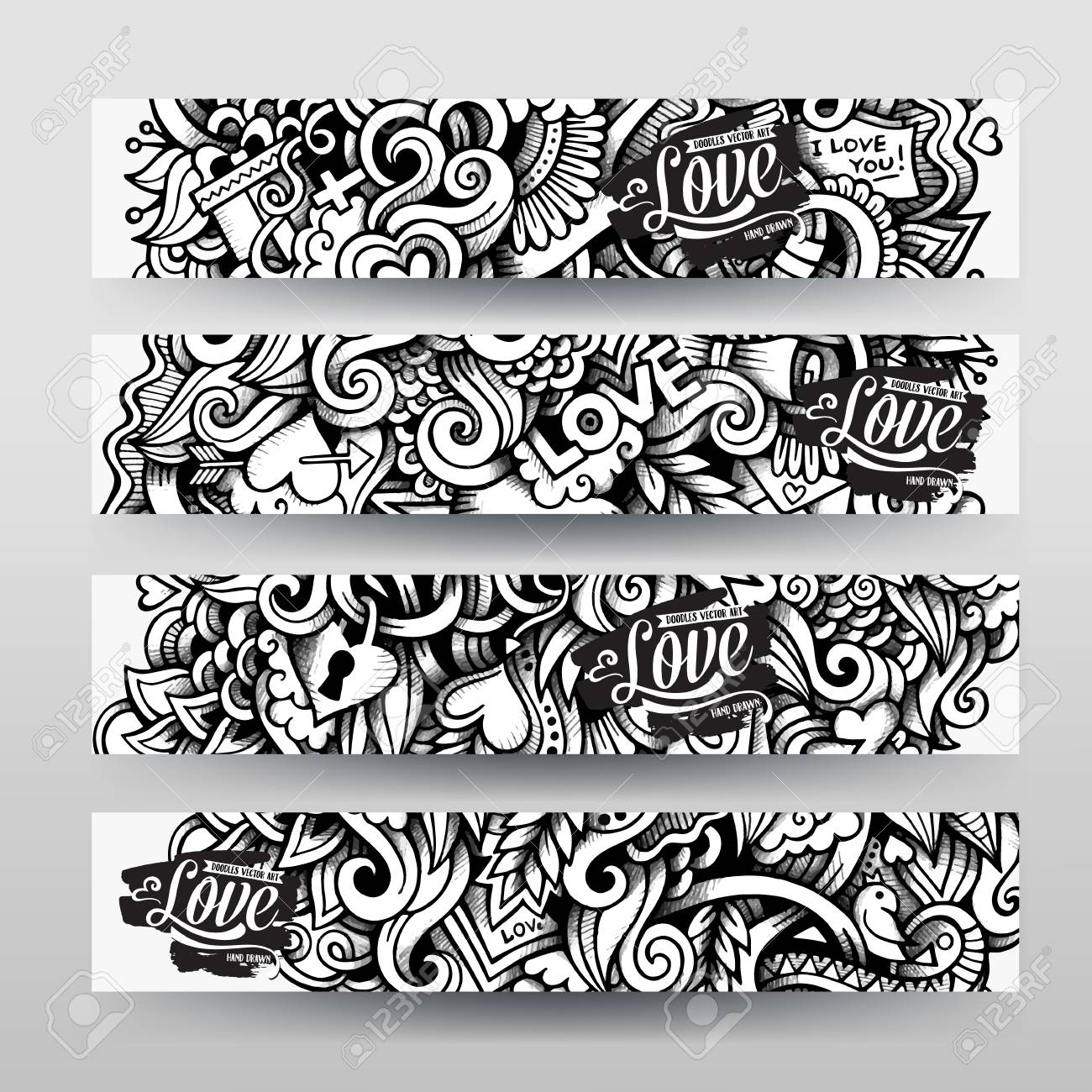 Graphics Vector Hand-drawn Sketchy Trace Love Doodle. Horizontal ...