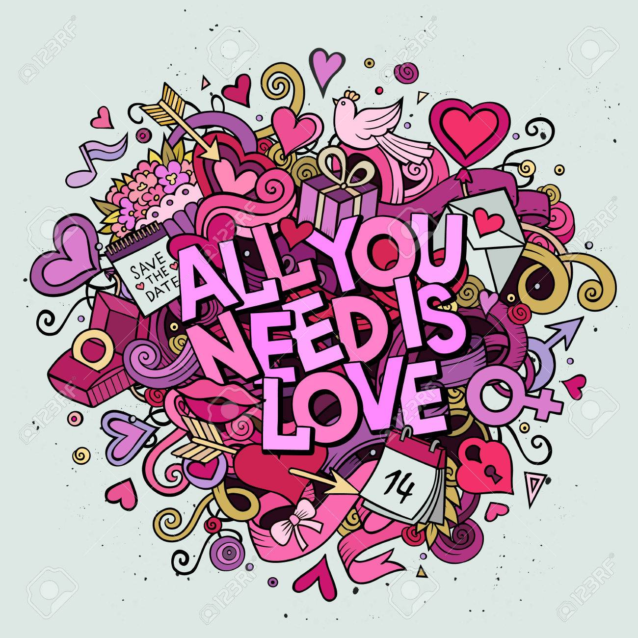 Cartoon vector hand drawn Doodle All You Need is Love illustration. Colorful detailed design background with objects and symbols. All objects are separated - 51045810