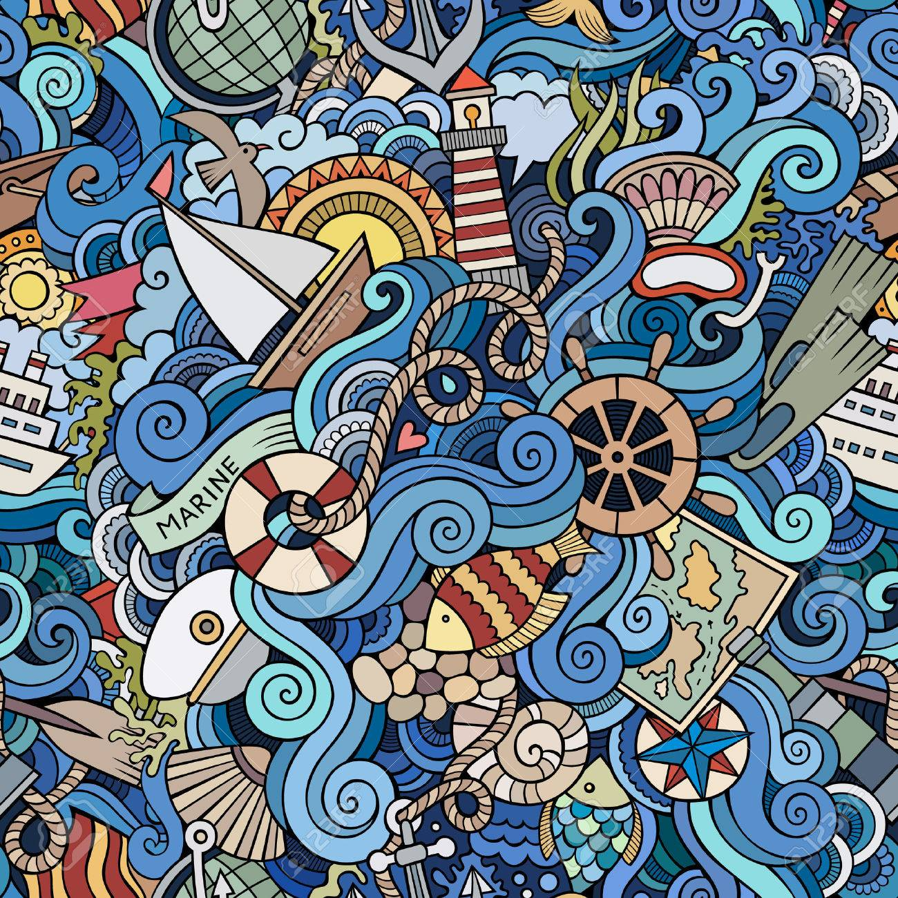 Seamless abstract pattern nautical and marine background - 51540146