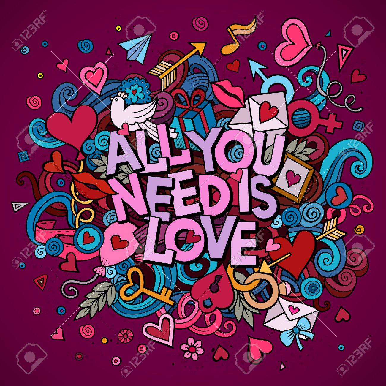 Cartoon vector hand drawn Doodle All You Need is Love illustration. Colorful detailed design background with objects and symbols. All objects are separated - 51737735