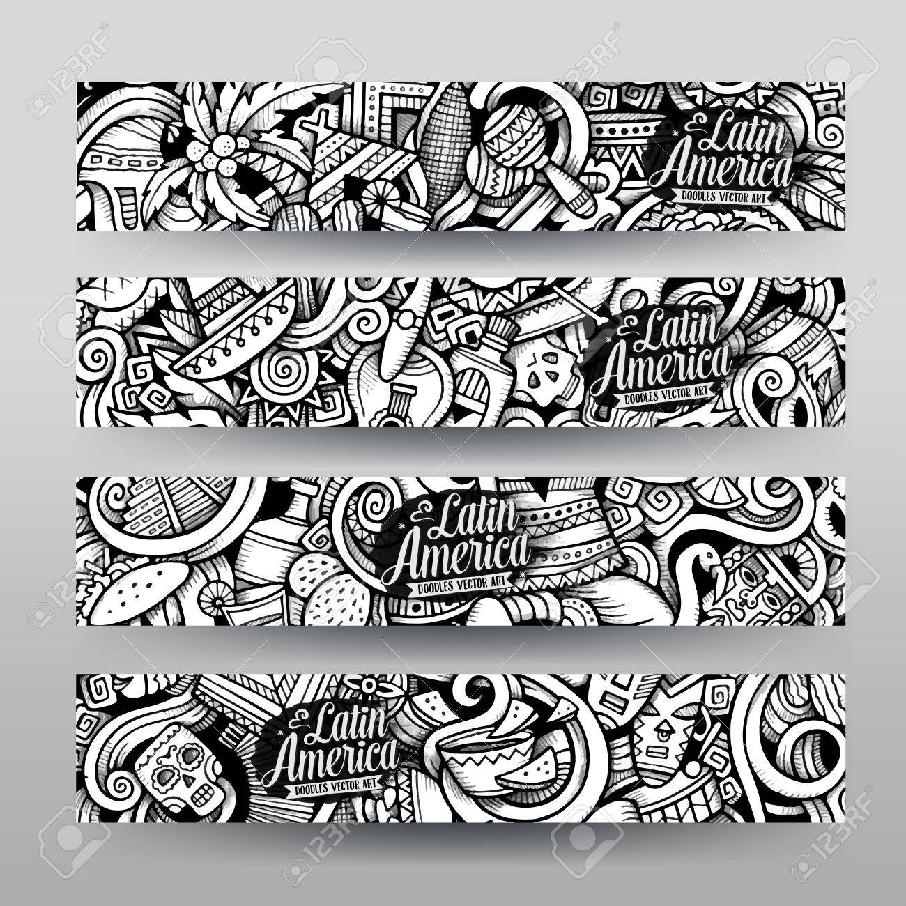 Graphics vector hand drawn sketchy trace latin american doodle graphics vector hand drawn sketchy trace latin american doodle horizontal banners design templates set pronofoot35fo Choice Image