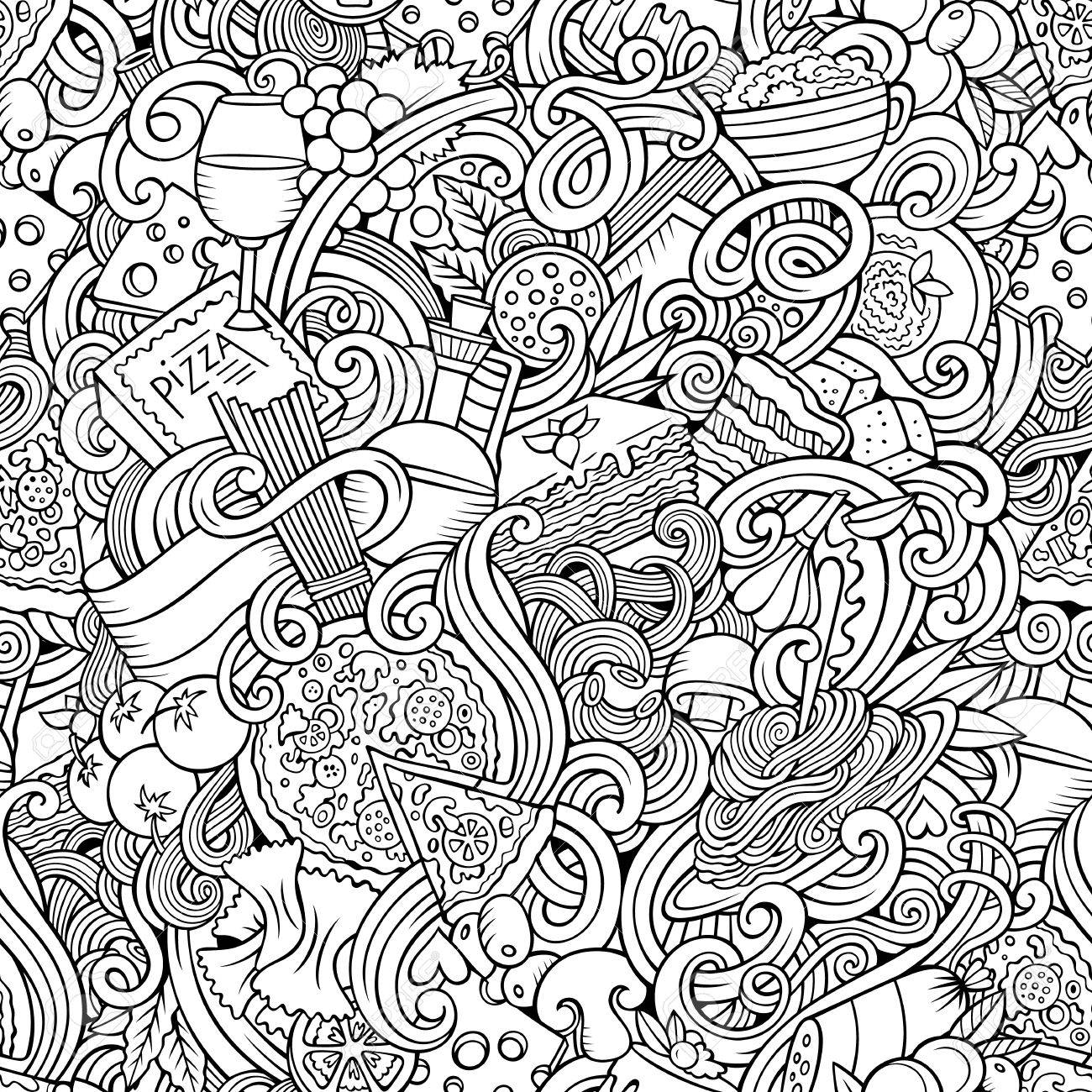 Cartoon hand-drawn doodles on the subject of Italian cuisine theme seamless pattern. Line art detailed, with lots of objects vector background - 54364894