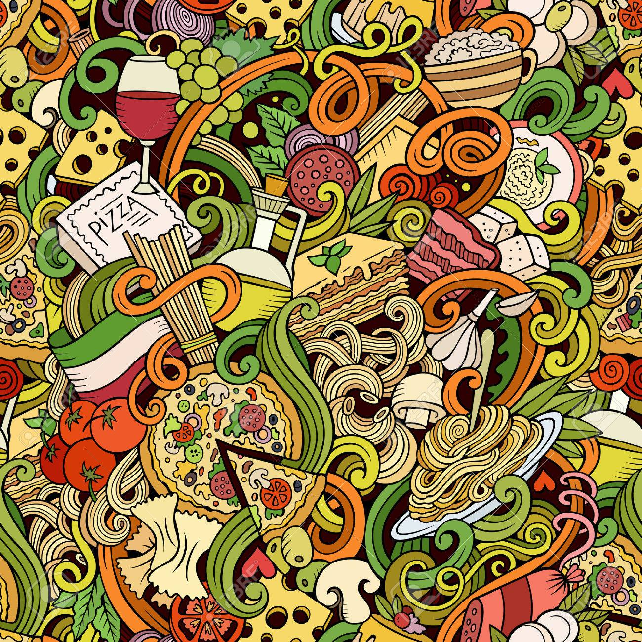 Cartoon hand-drawn doodles on the subject of Italian cuisine theme seamless pattern. Colorful detailed, with lots of objects vector background - 54364895