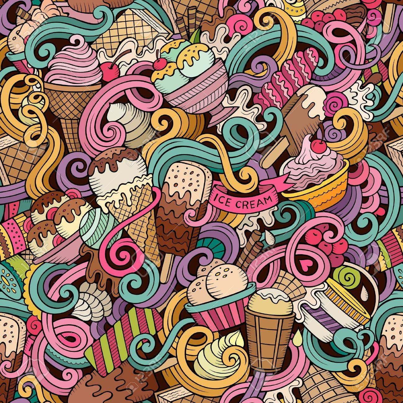 Cartoon hand-drawn ice cream doodles seamless pattern. Colorful detailed, with lots of objects vector background - 55176564