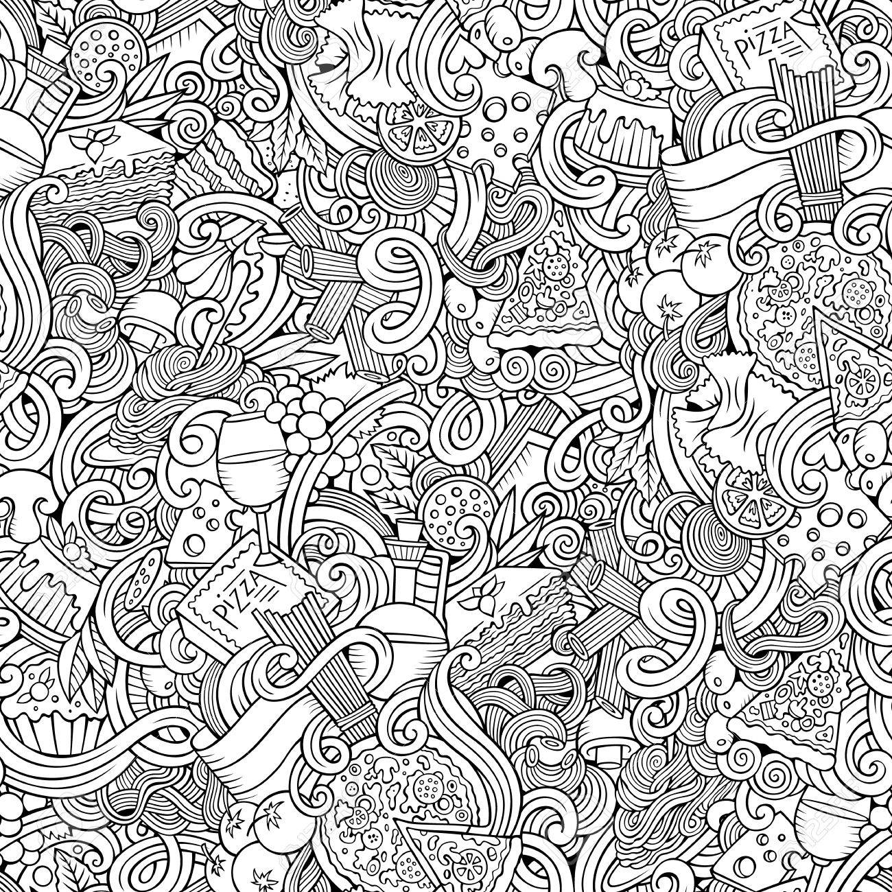 Cartoon hand-drawn doodles Italian cuisine seamless pattern. Line art detailed, with lots of objects vector background - 55176619