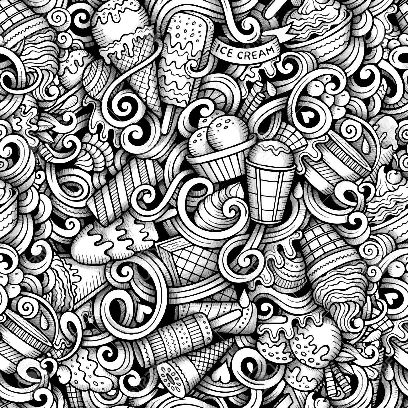 Cartoon hand drawn ice cream doodles seamless pattern. Line art detailed, with lots of objects vector trace background - 55588289