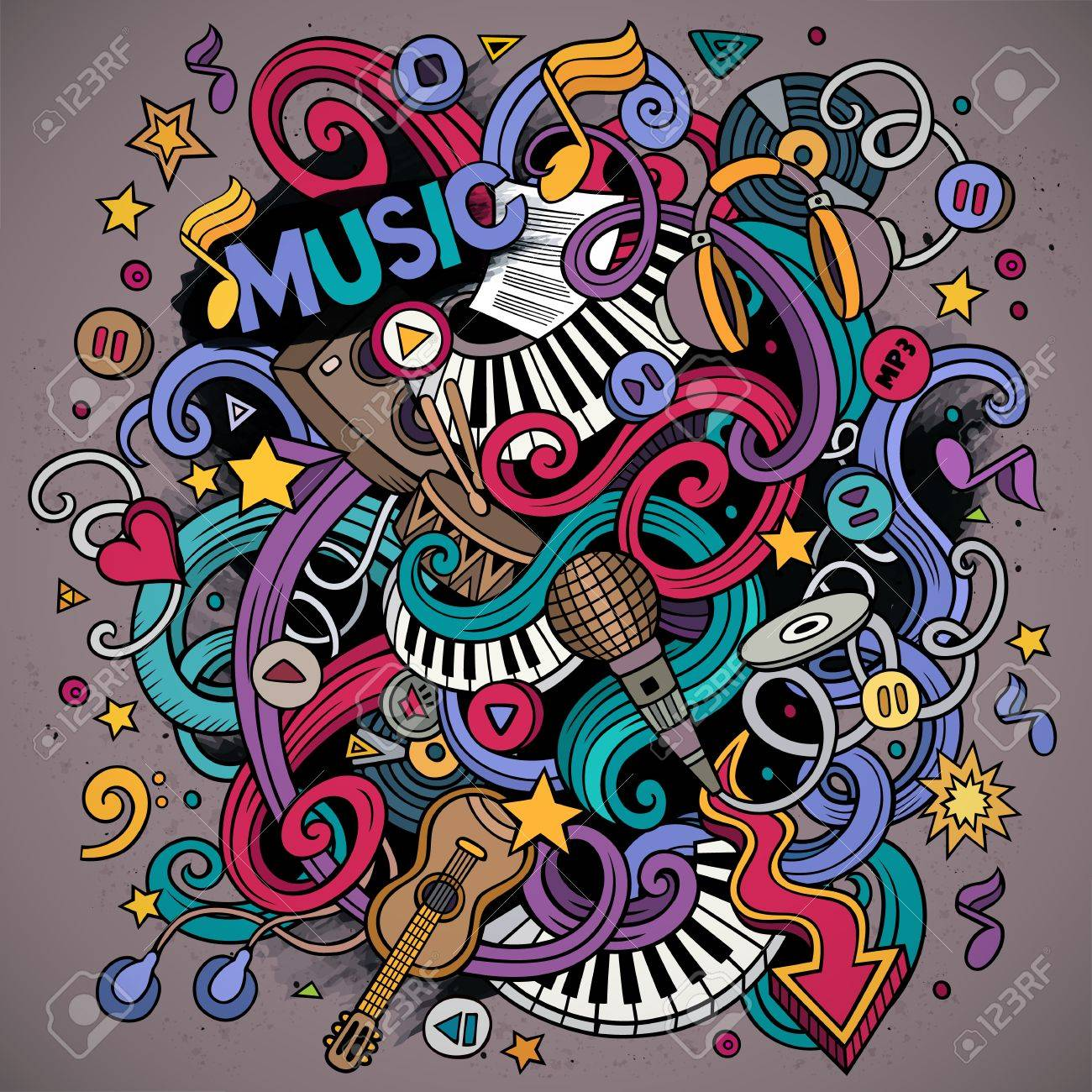 Cartoon hand-drawn doodles Musical illustration. Colorful detailed, with lots of objects vector background - 55588474
