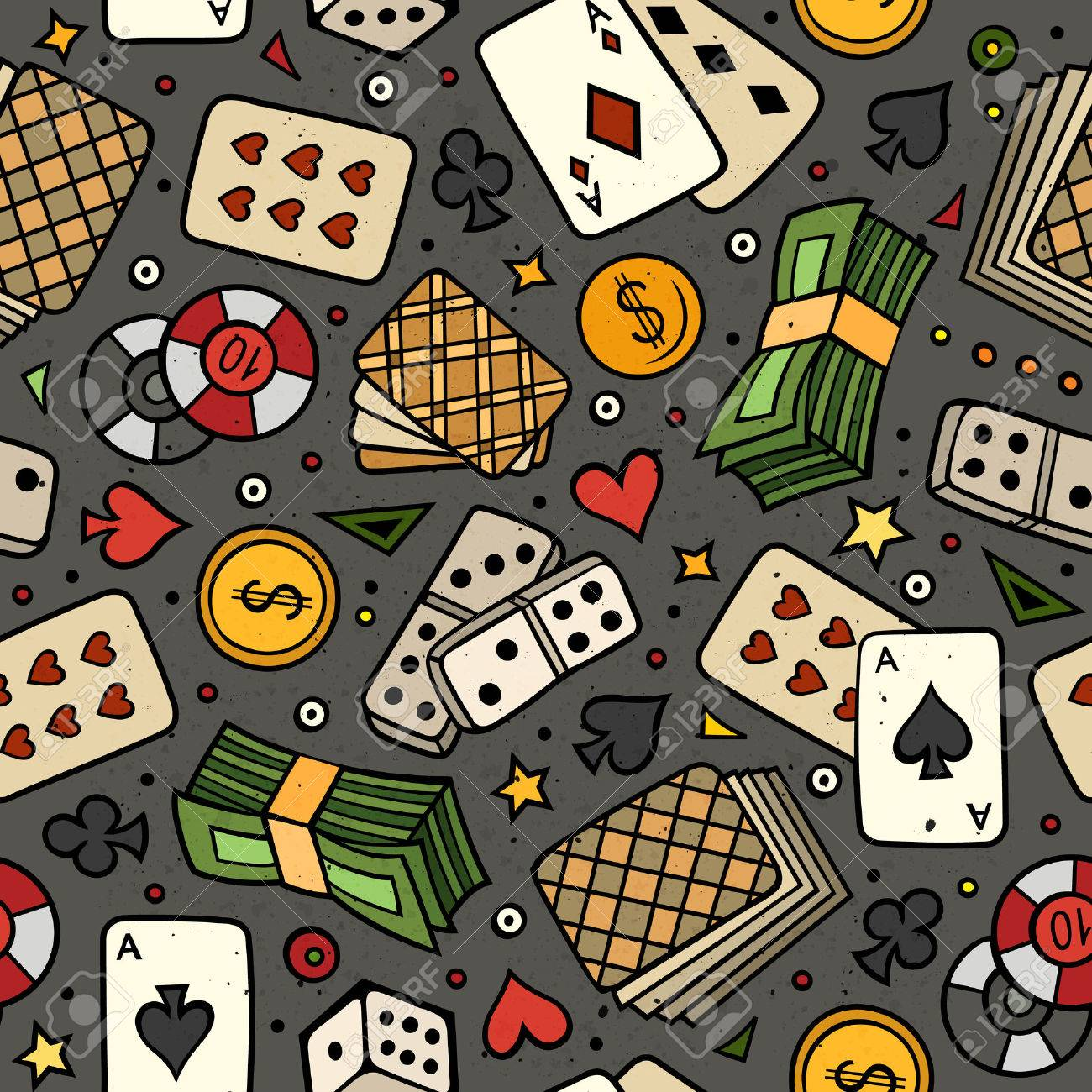 Cartoon hand-drawn casino, games seamless pattern. Lots of symbols, objects and elements. Perfect funny vector background. - 56256492