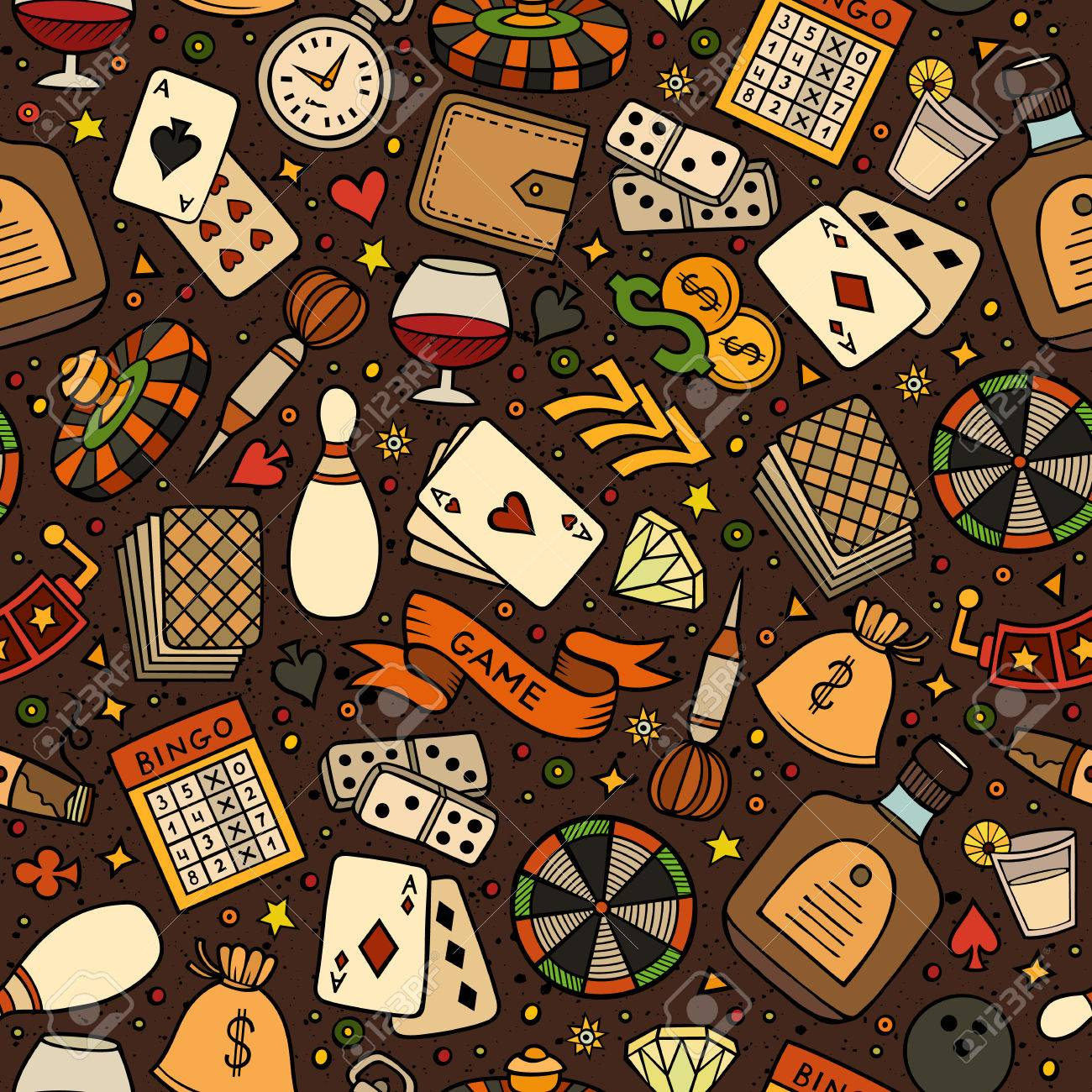 Cartoon hand-drawn casino, games seamless pattern. Lots of symbols, objects and elements. Perfect funny vector background. - 56978318