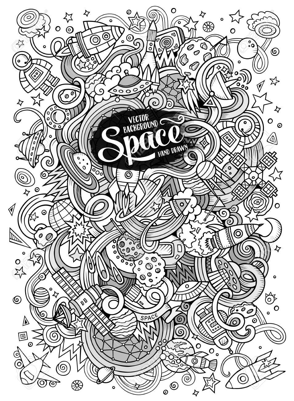 Dessin Anime Doodles Dessines A La Main Illustration De L Espace