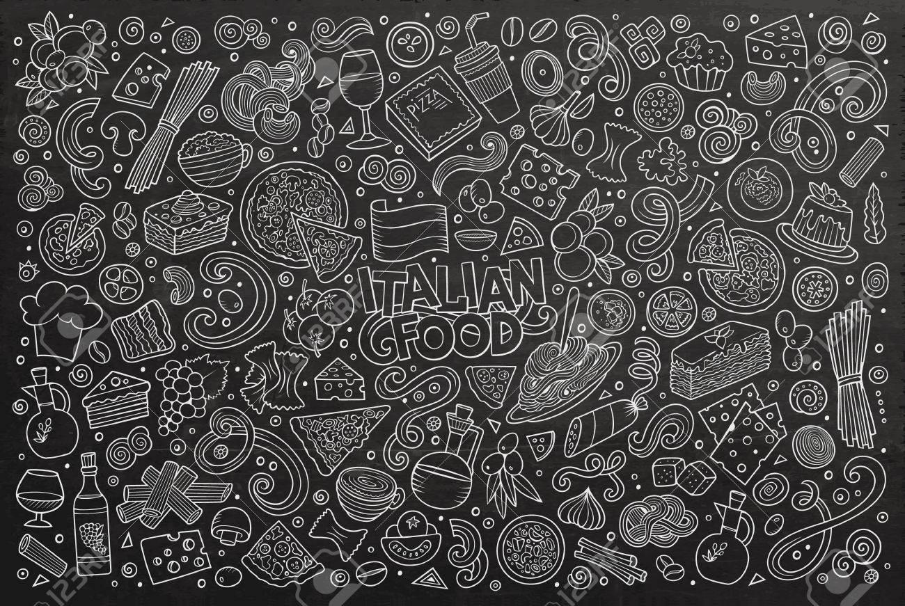Line art chalkboard hand drawn doodle cartoon set of italian cuisine objects and symbols - 57277547