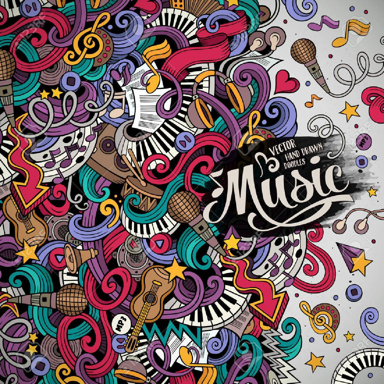 Cartoon hand-drawn doodles Musical illustration. Colorful detailed, with lots of objects background - 57277550