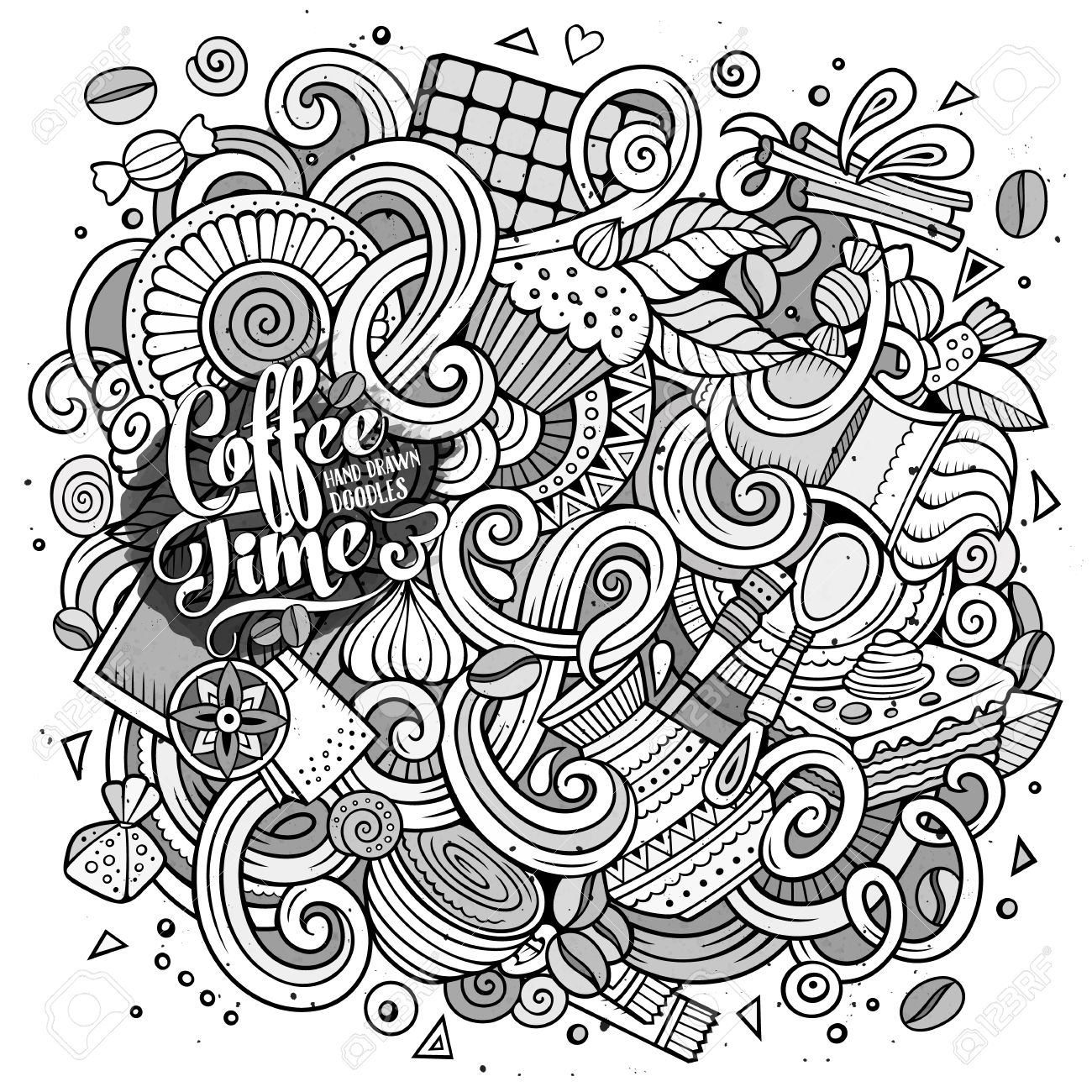 9e142a23e73 Cartoon Hand-drawn Doodles Cafe