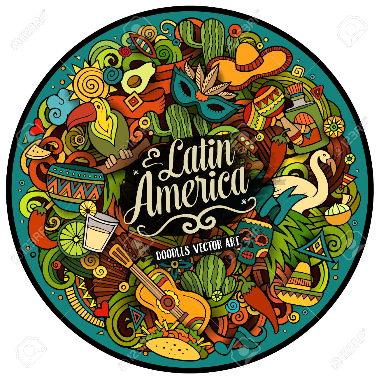 Latin America. Cartoon vector hand drawn Doodle illustration. Colorful detailed round design background with objects and symbols. All objects are separated - 57559125