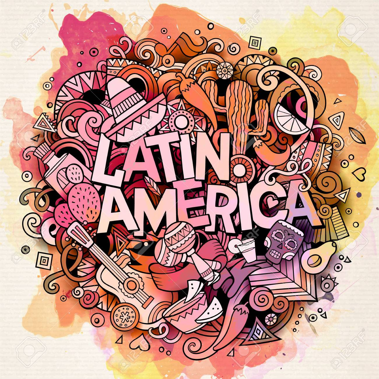 Latin America. Cartoon vector hand drawn Doodle illustration. Watercolor detailed design background with objects and symbols. All objects are separated - 57559124