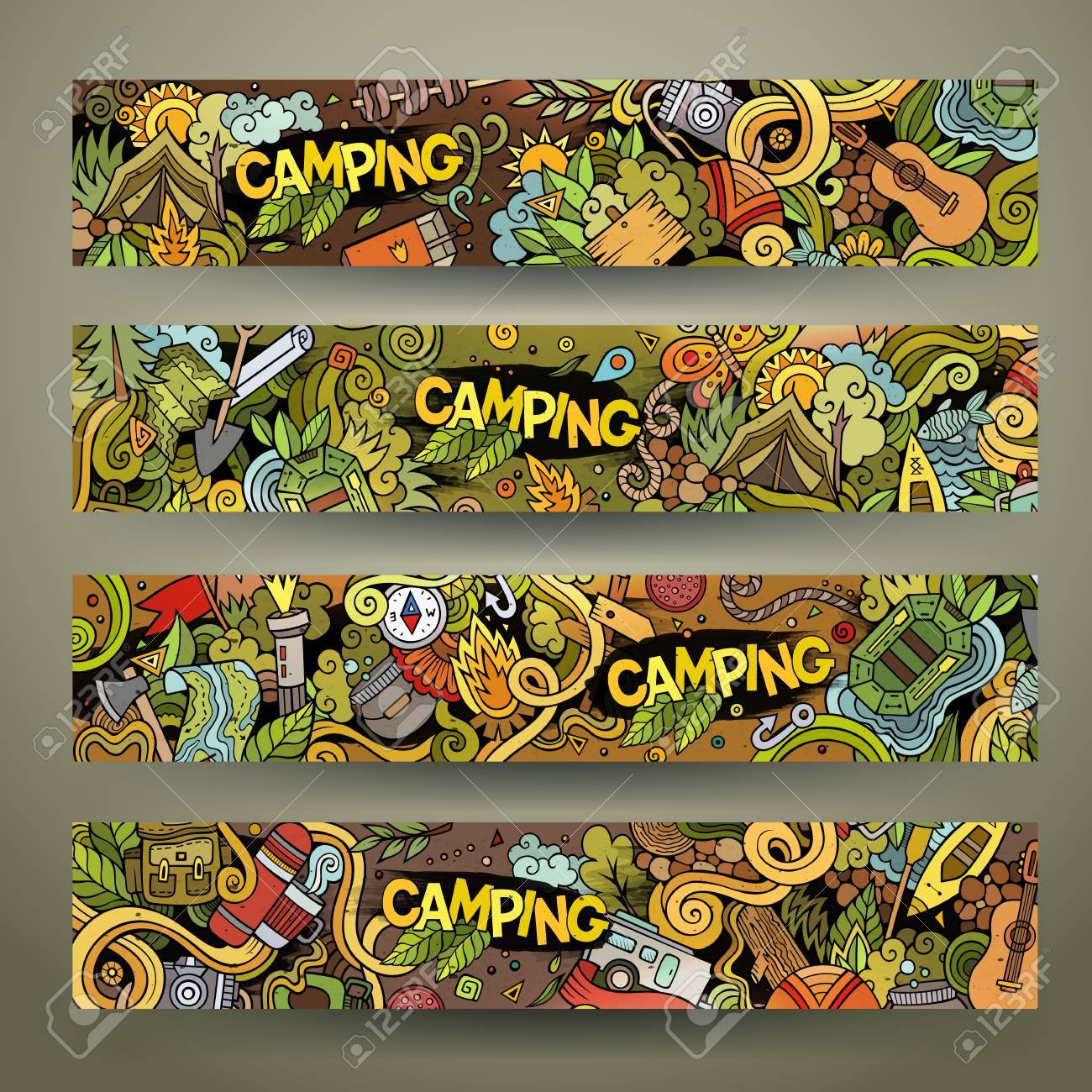Cartoon vector hand drawn colorful camping doodle corporate identity. 4 Horizontal banners design. Templates set - 57564577