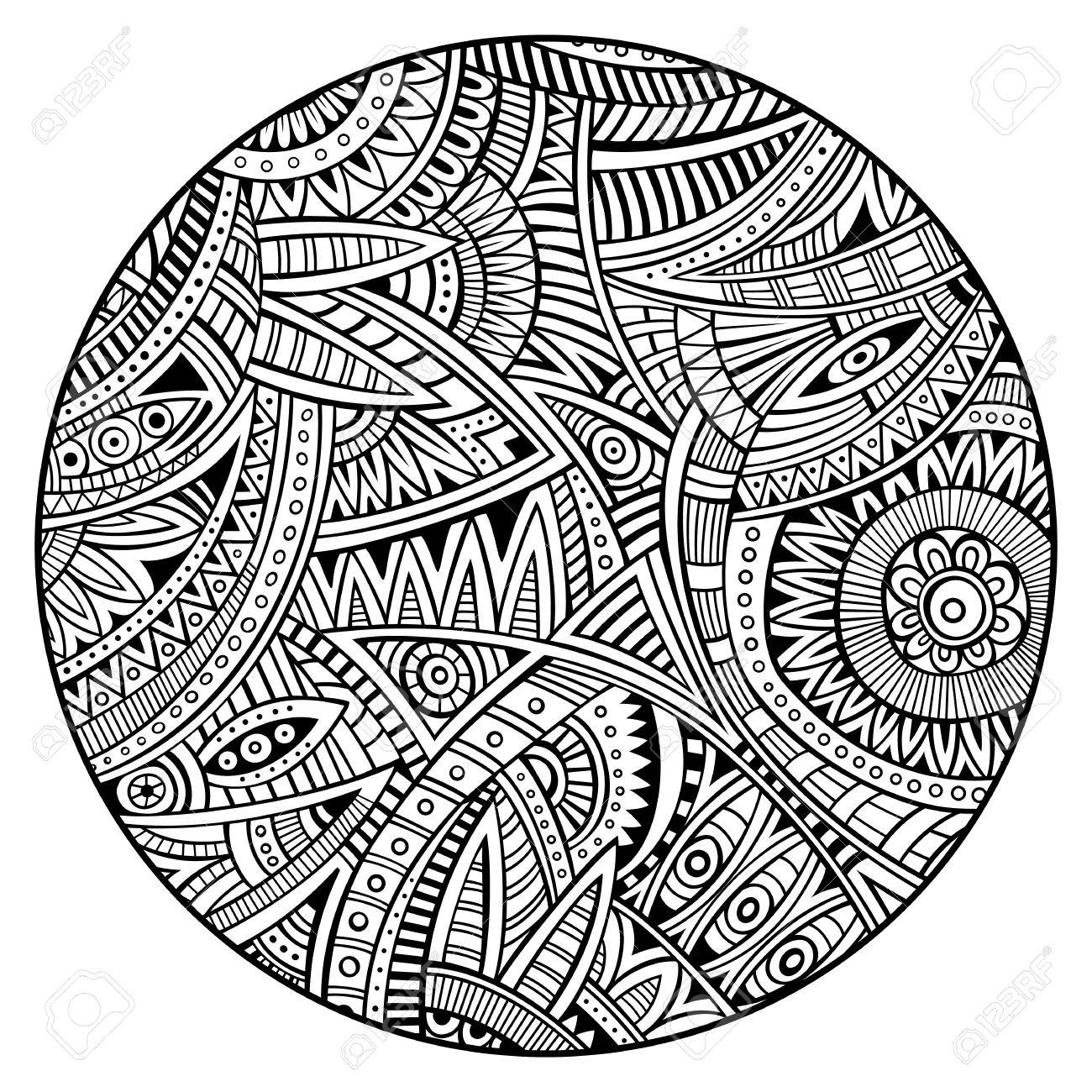 vector abstract decorative hand drawn ethnic circle background