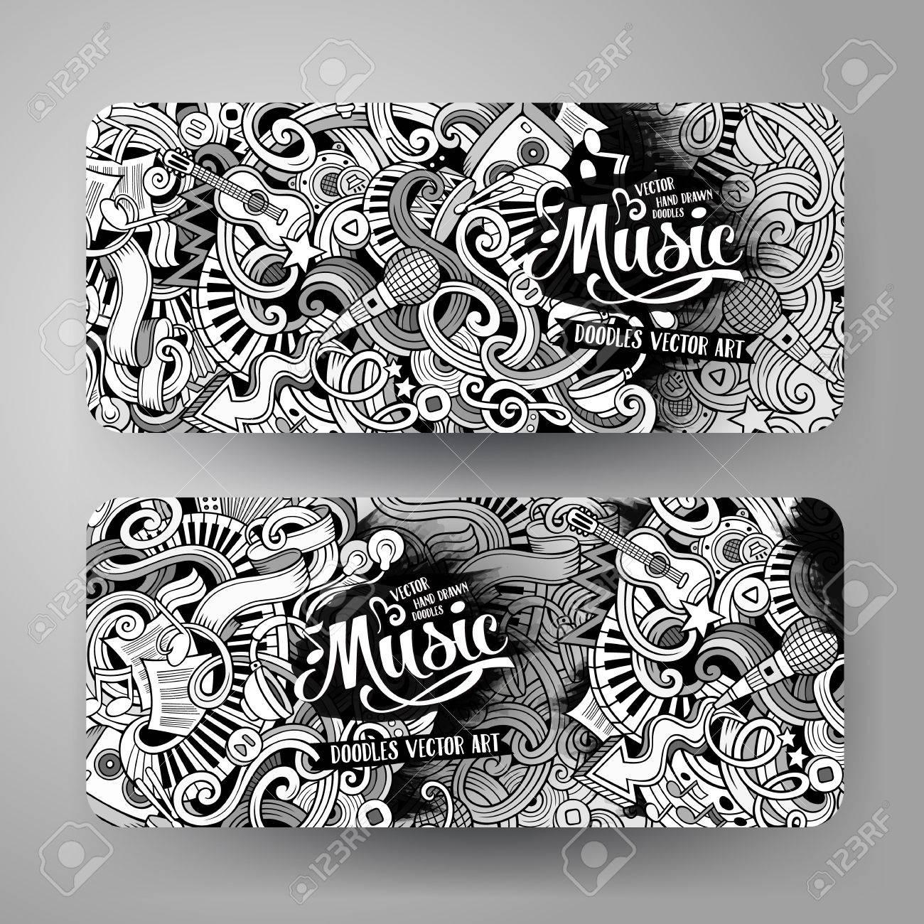 Cartoon line art vector hand drawn doodles music corporate identity. 2 Horizontal banners design. Templates set - 60242874