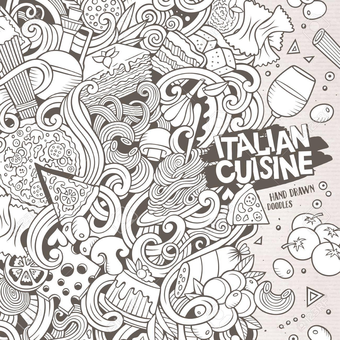 Cartoon Niedlich Kritzeleien Hand Italienische Küche Rahmen-Design ...