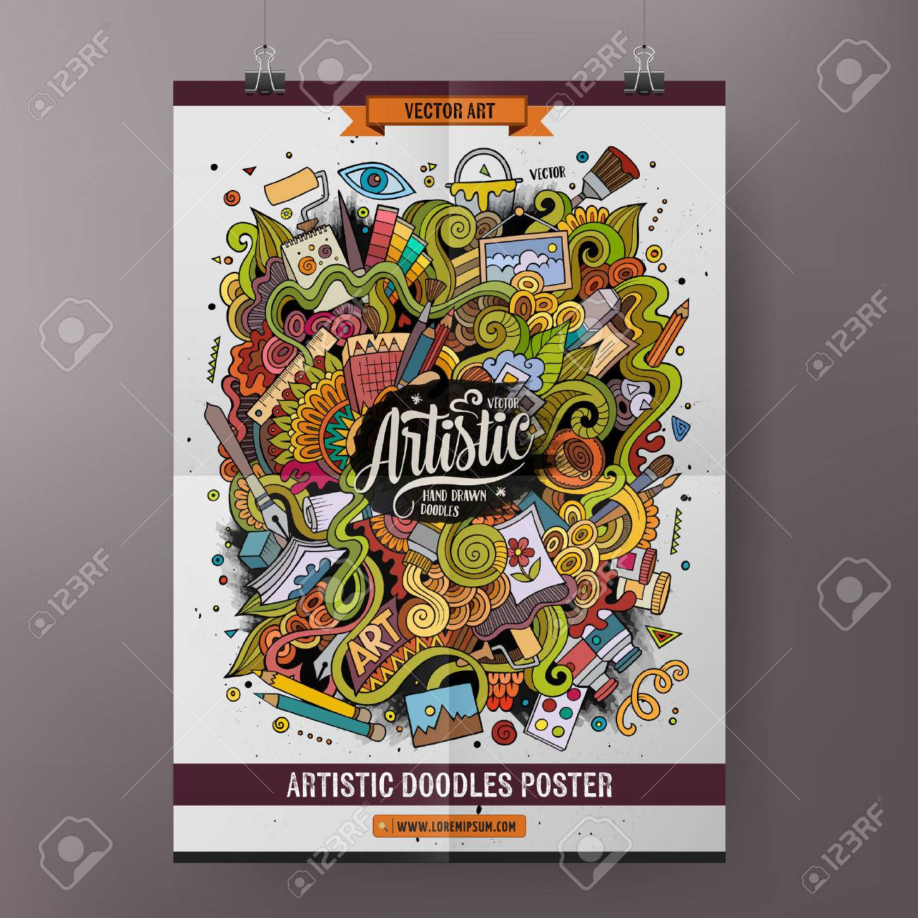 Cartoon colorful hand drawn doodles Art poster template. Very detailed, with lots of objects illustration. Funny vector artwork. Corporate identity design. - 59786394