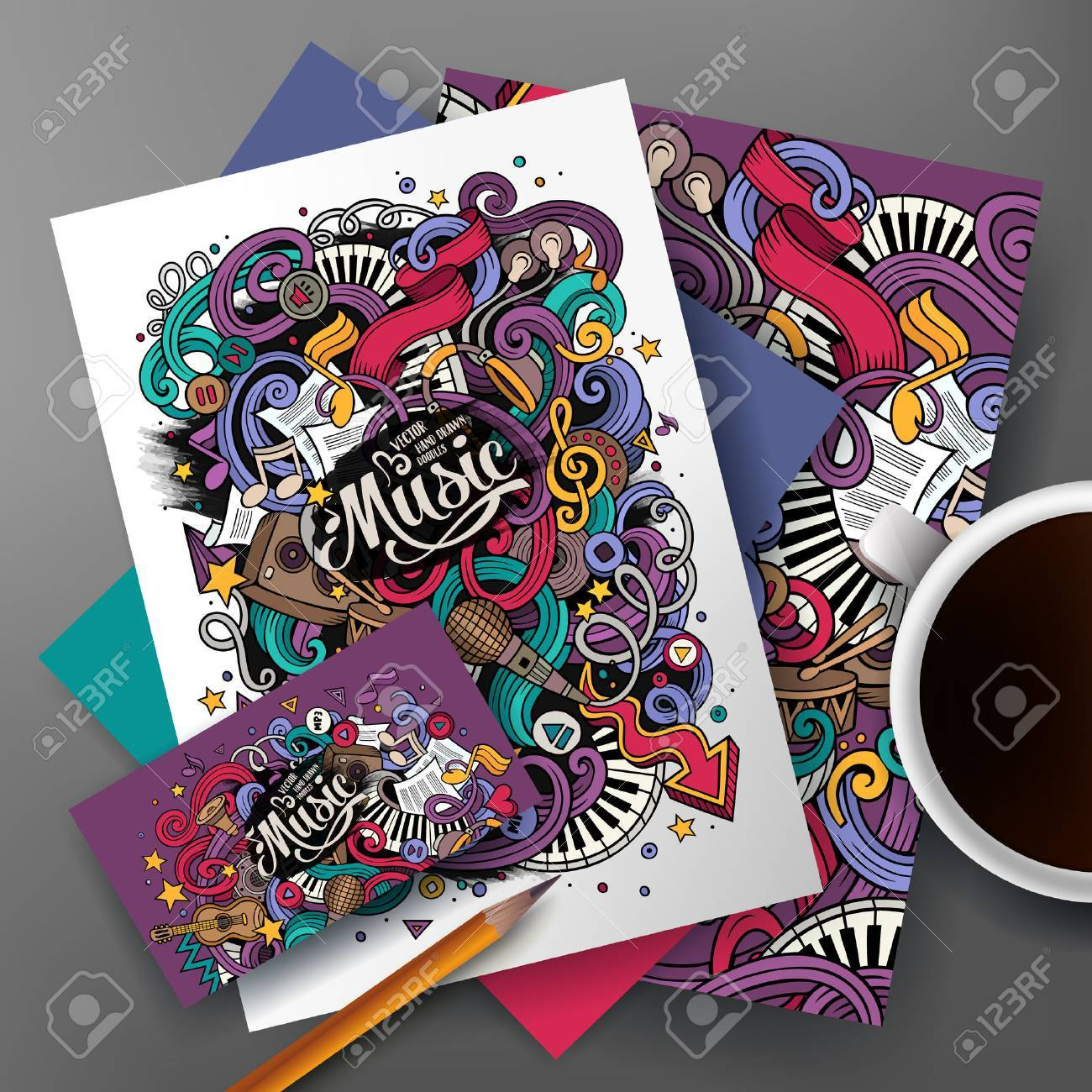 Cartoon Cute Colorful Vector Hand Drawn Doodles Musical Corporate ...