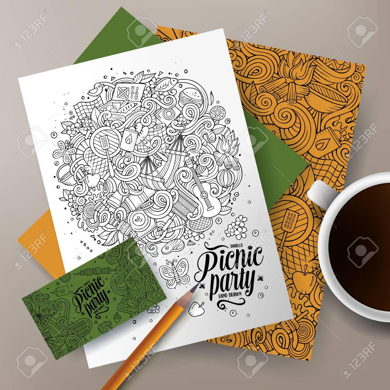 La Main Vecteur Colore Pique Nique Ensemble Didentite Dentreprise Modeles De Conception Carte Visite Flyers Affiches Documents Sur Table