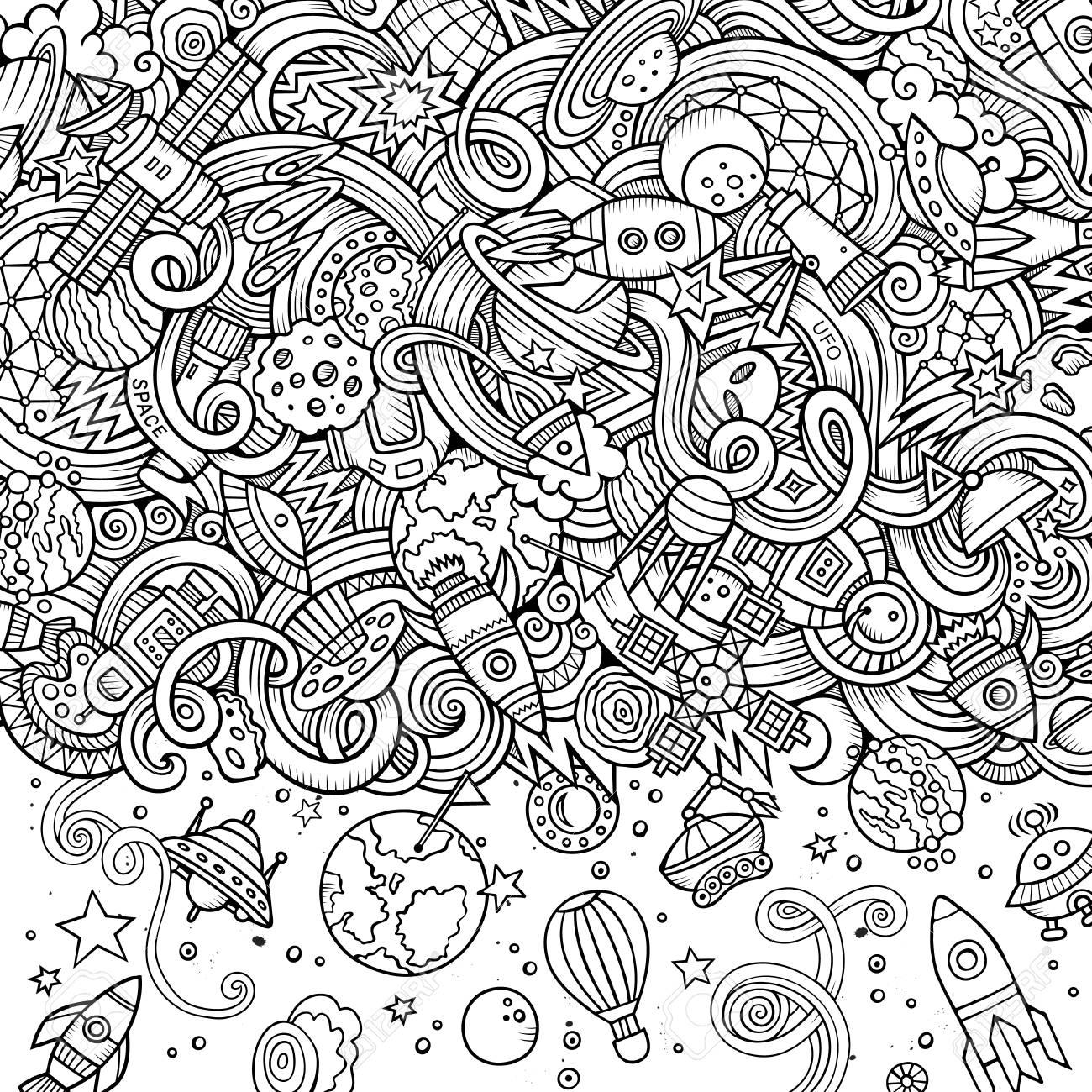 Dessin Anime Mignon Doodles Illustration De L Espace Dessine A La