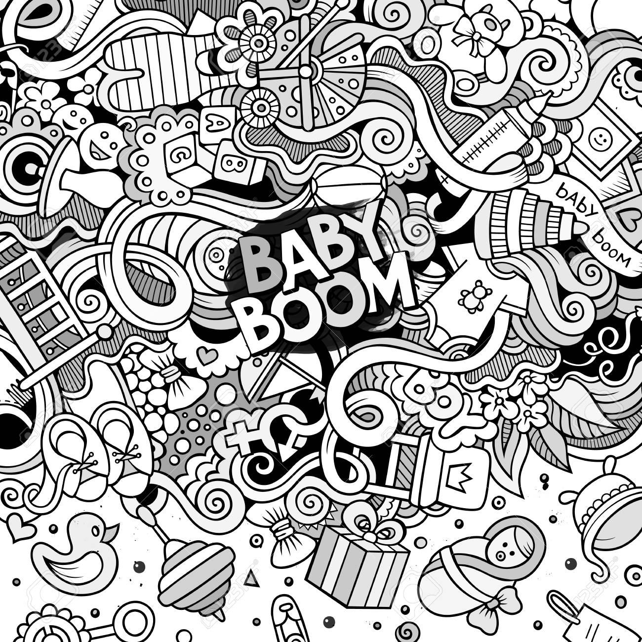 Cartoon cute doodles hand drawn baby frame design  Line art detailed,
