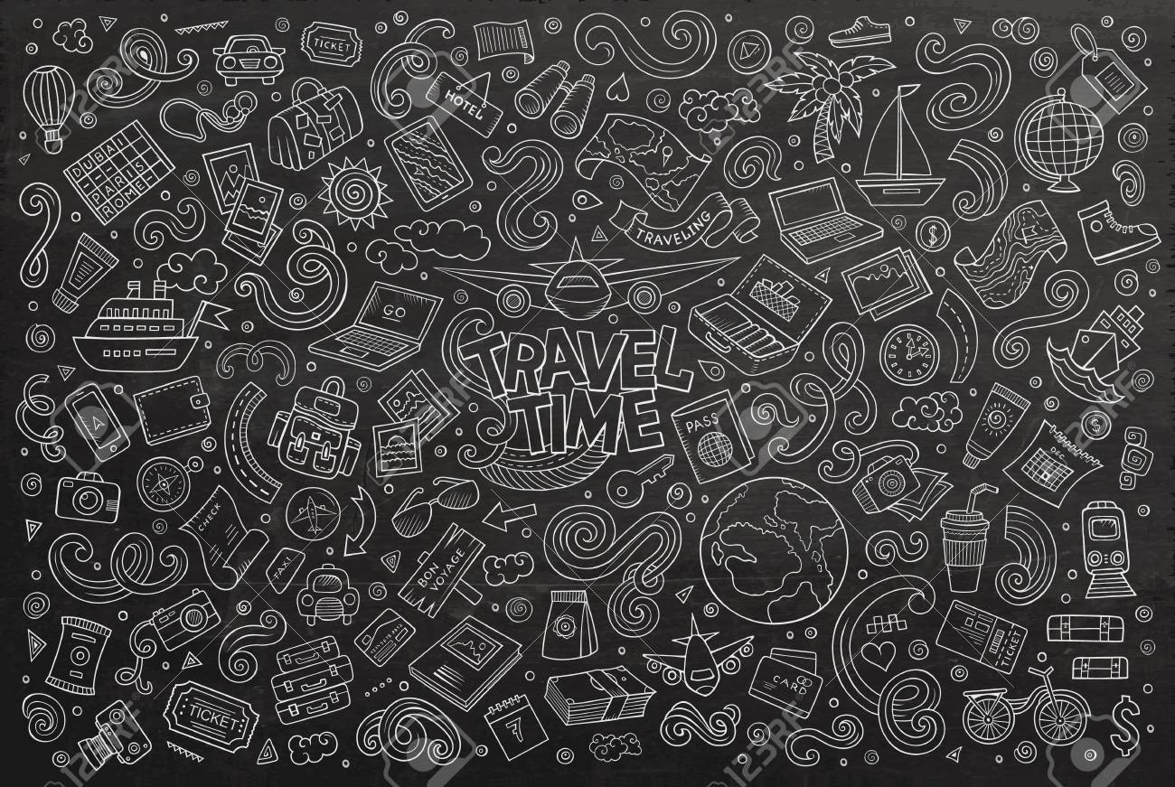 chalkboard vector hand drawn doodle cartoon set of travel planning theme items objects and symbols