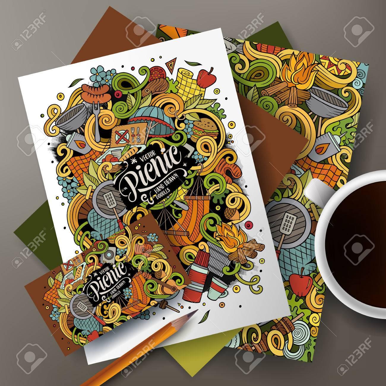 La Main Vecteur Color Pique Nique Ensemble Didentit Dentreprise Modles De Conception Carte Visite Flyers Affiches Documents Sur Table