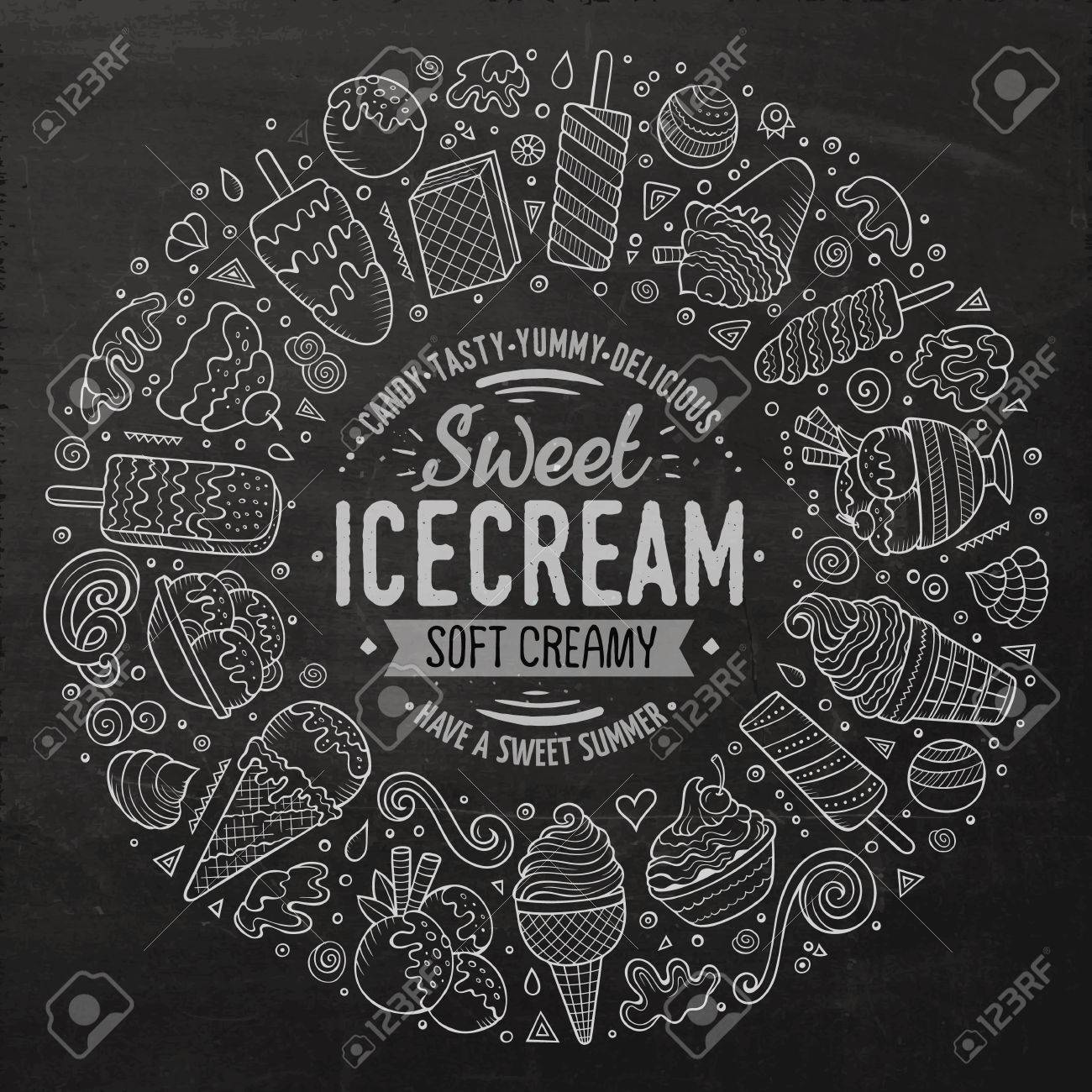 Chalkboard vector hand drawn set of Ice Cream cartoon doodle objects, symbols and items. Round frame composition - 61367144