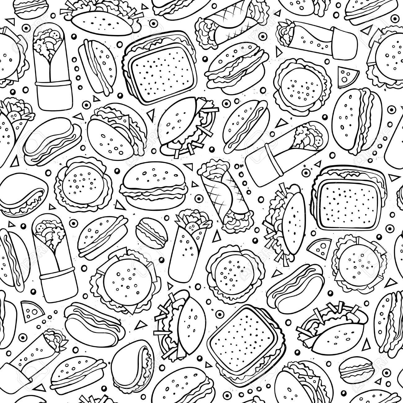Cartoon cute hand drawn Fast food seamless pattern. Line art with lots of objects background. Endless funny vector illustration. Sketch backdrop with fastfood symbols and items - 61494522