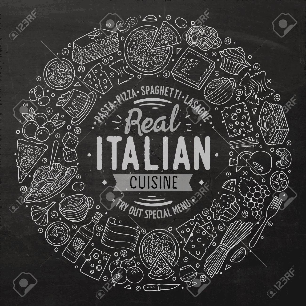 Chalkboard vector hand drawn set of Italian food cartoon doodle objects, symbols and items. Round frame composition - 62057878