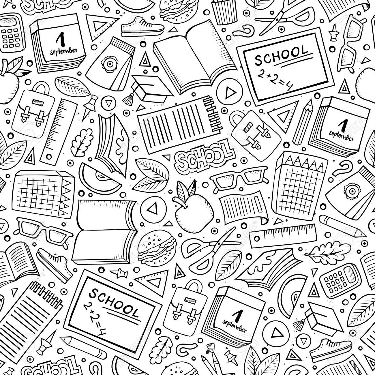Cartoon cute hand drawn Science seamless pattern. Line art detailed, with lots of objects background. Endless funny vector illustration. Sketchy scientific backdrop. - 62017729