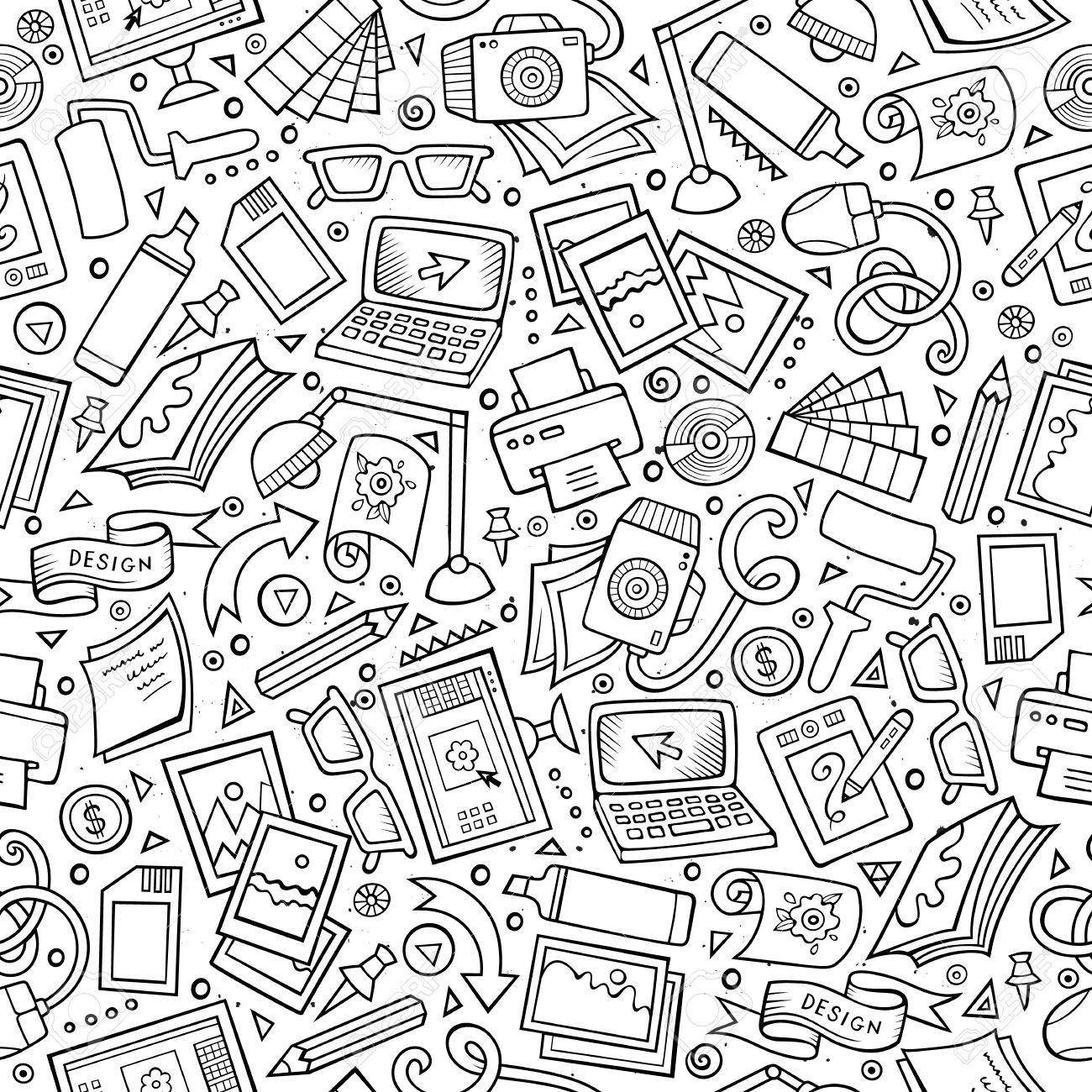 Cartoon cute hand drawn Design seamless pattern. Line art detailed, with lots of objects background. Endless funny vector illustration. Sketchy graphic designer backdrop. - 62017730