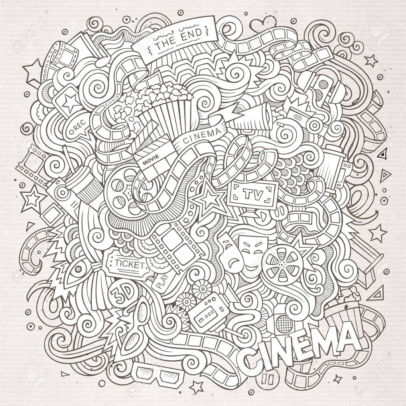 Dessin Anime Mignon Doodles Design De Cadre De Cinema Dessine A La
