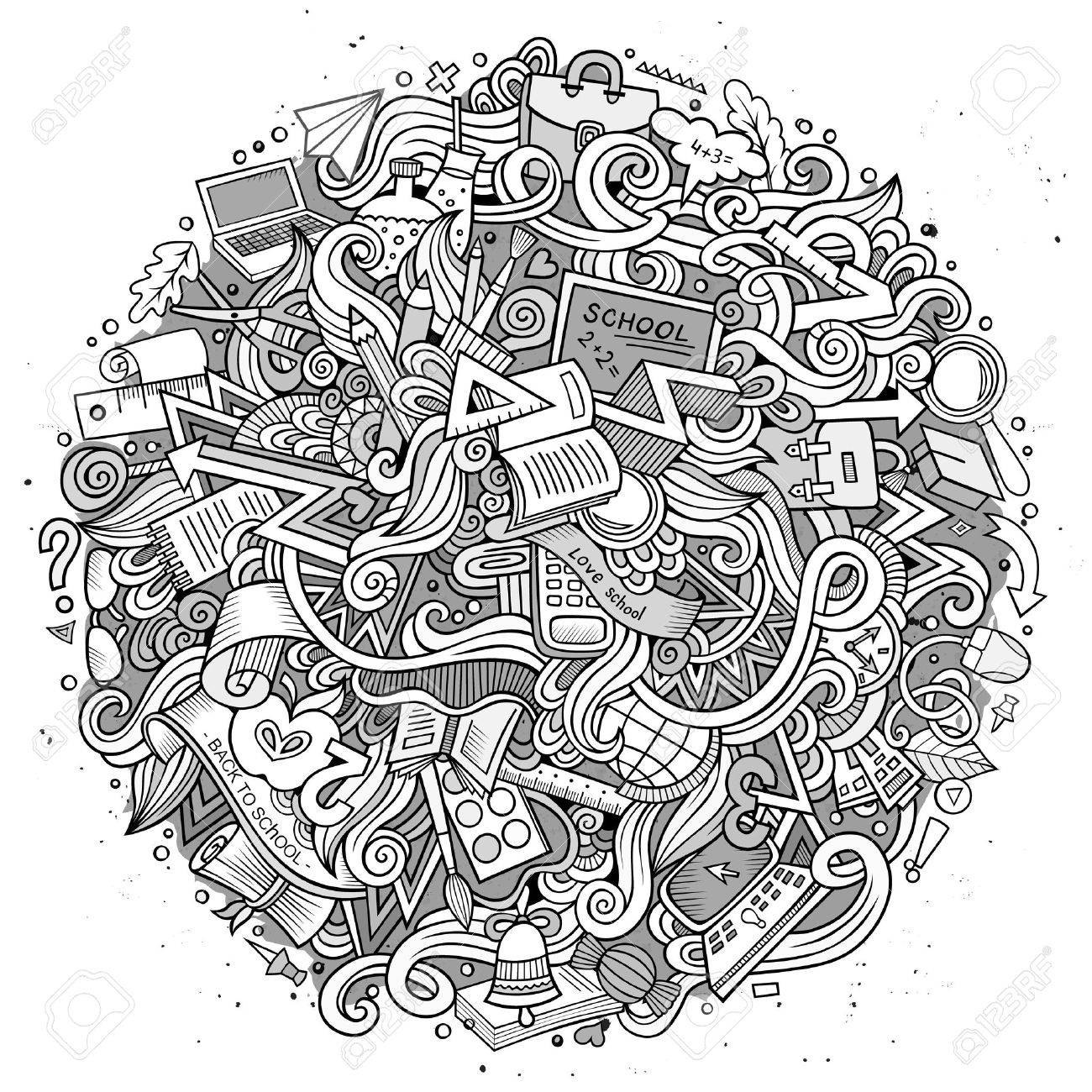 Cartoon cute doodles hand drawn School illustration. Line art detailed, with lots of objects background. Funny vector artwork. Sketchy picture with education theme items. - 62529154
