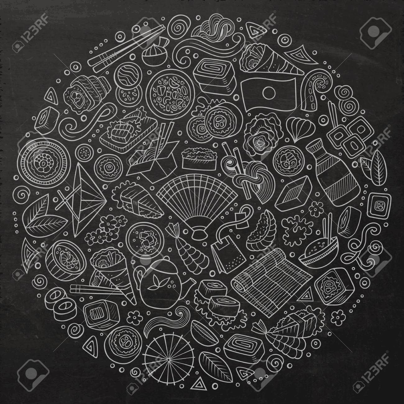 Chalkboard vector hand drawn set of Japan food cartoon doodle objects, symbols and items. Round composition - 62710918