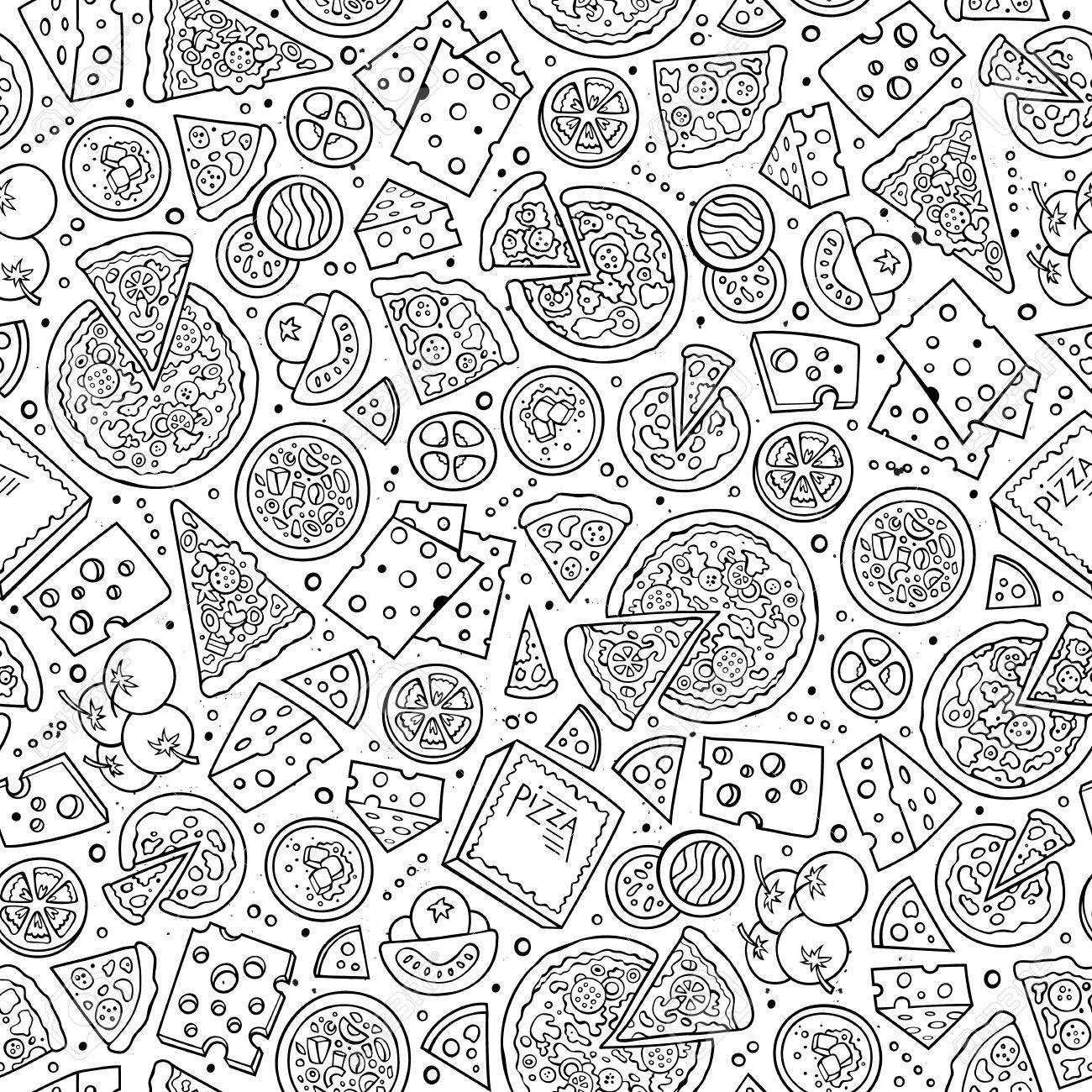 Cartoon cute hand drawn Pizza seamless pattern. Line art with lots of objects background. Endless funny vector illustration. Sketch backdrop with fastfood symbols and items - 63236480