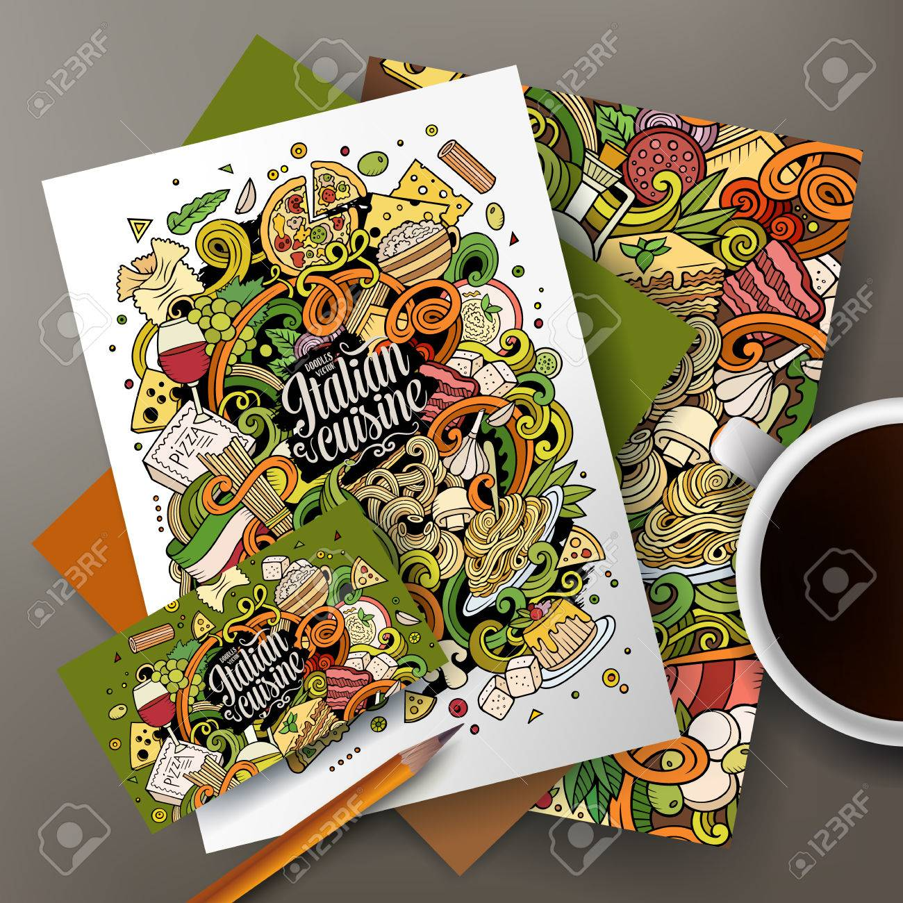 Cartoon Cute Colorful Vector Hand Drawn Doodles Italian Food Corporate Identity Set Templates Design Of