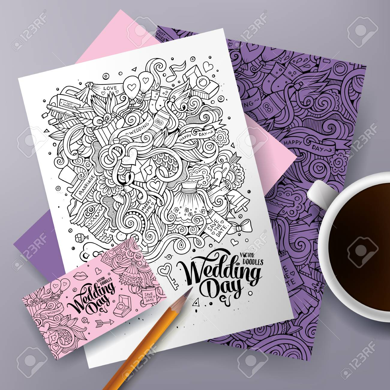 Cartoon Cute Vector Hand Drawn Doodles Wedding Corporate Identity ...