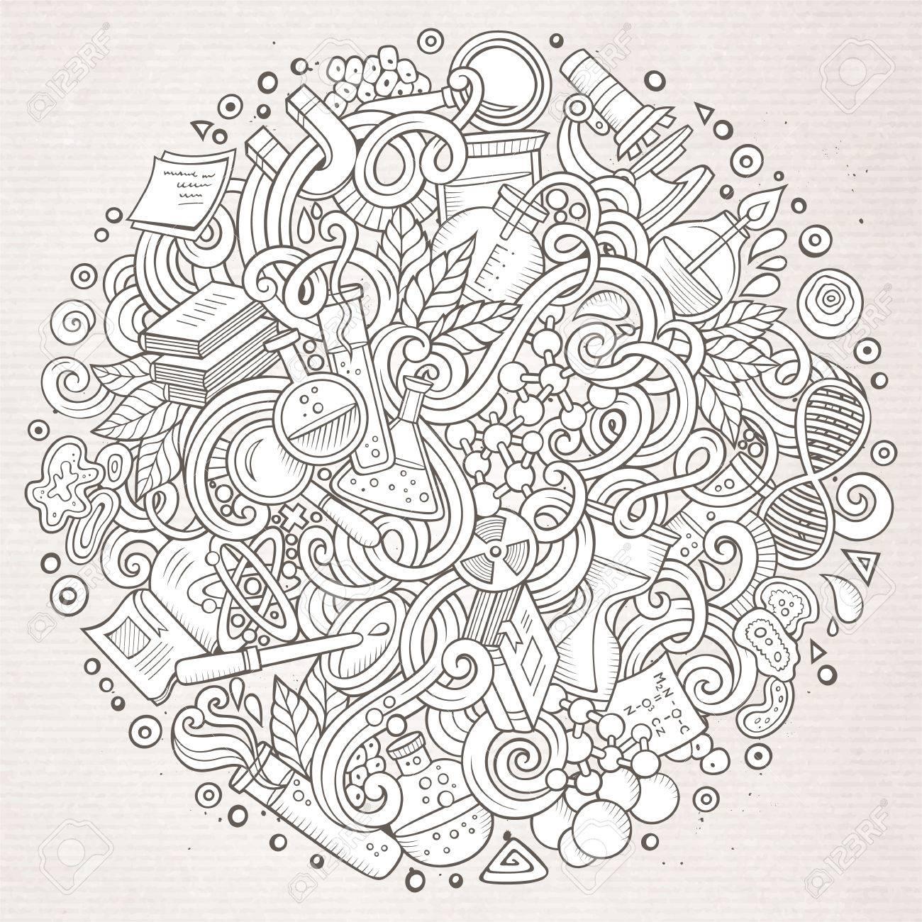 かわいい落書き科学イラストを漫画します詳細はオブジェクトの背景の