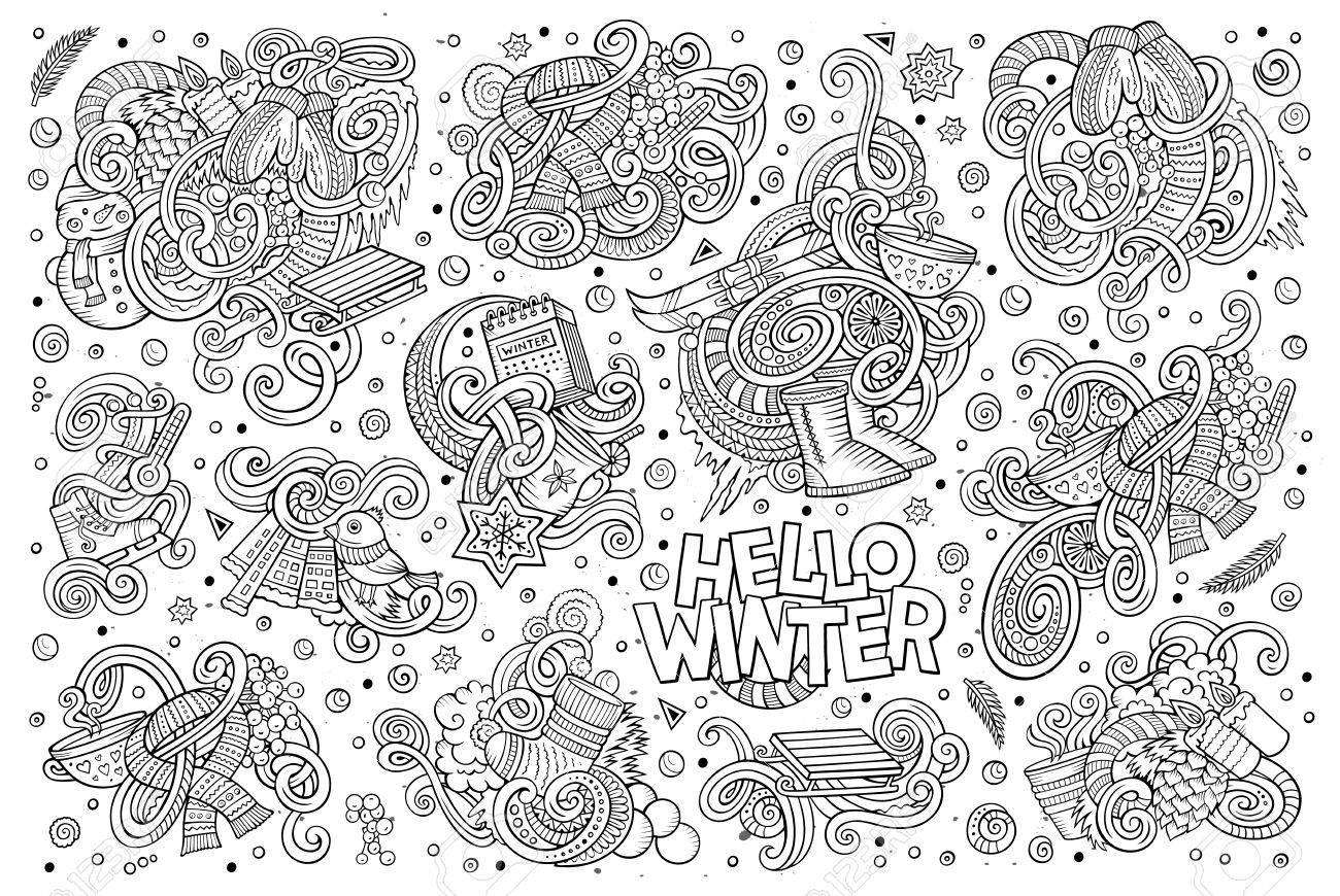 Line Art Doodle Cartoon Set Of Winter Season Objects And Symbols