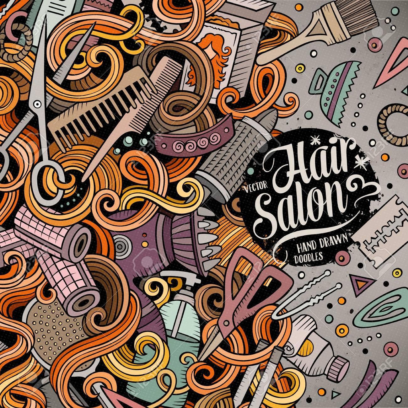 De Dibujos Animados Garabatos Lindo Diseño Del Marco De Peluquería ...
