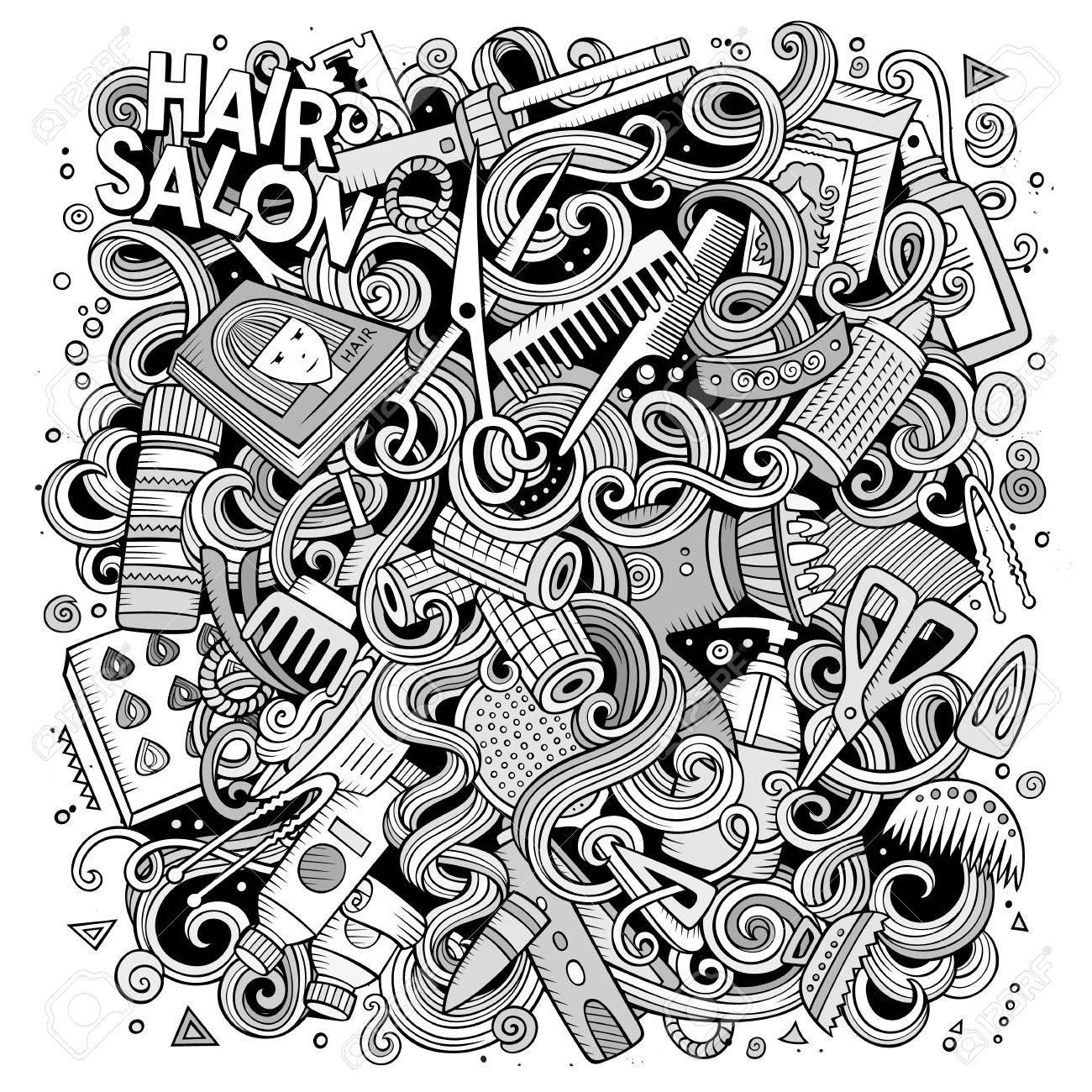 Doodles Mignons De Dessin Anime Illustration De Salon De Coiffure